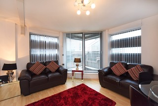 Light living area at Deansgate Apartments, Deansgate, Manchester