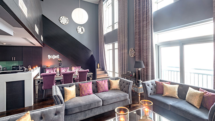 Open-plan living at Loft Towers Apartments