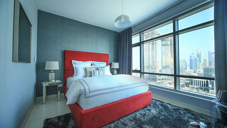 Spacious bedroom at Loft Towers Apartments