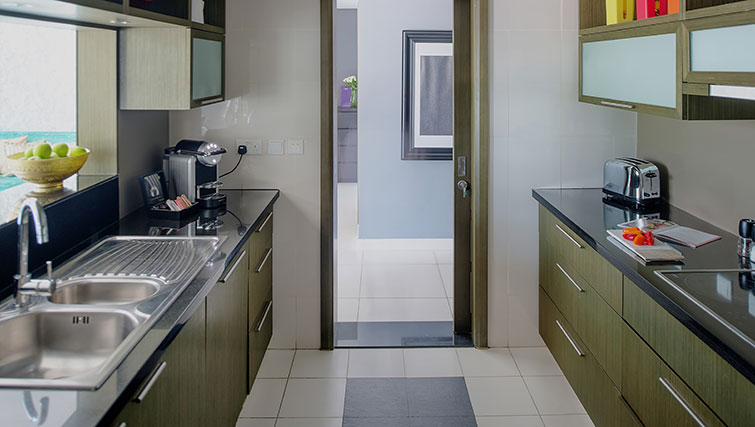 Equipped kitchen at Loft Towers Apartments