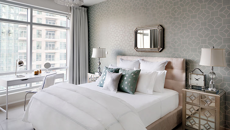 White bedroom at Loft Towers Apartments