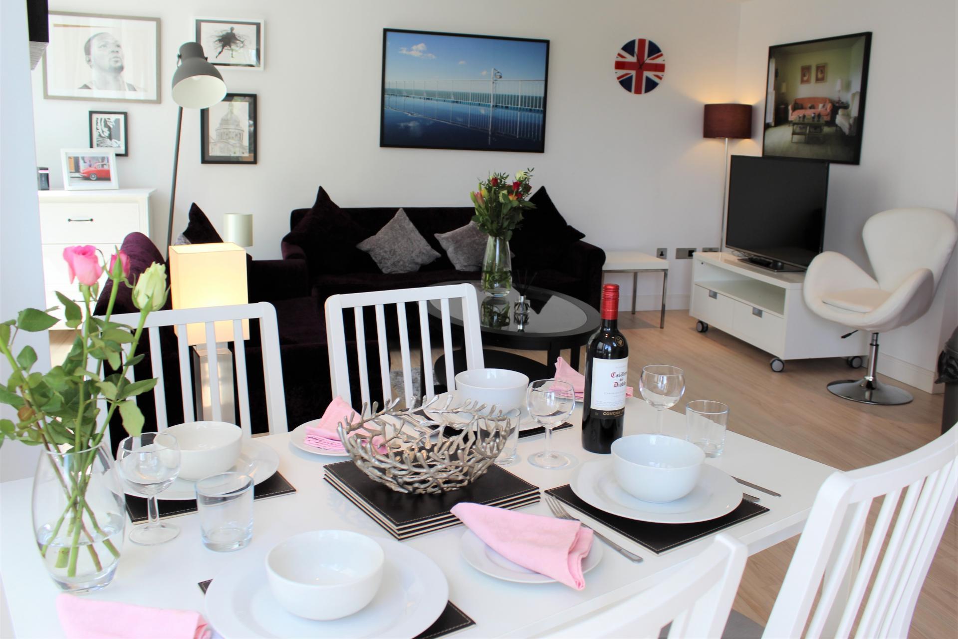 Dining table at Gunwharf Quays Apartments, Gunwharf Quays, Portsmouth