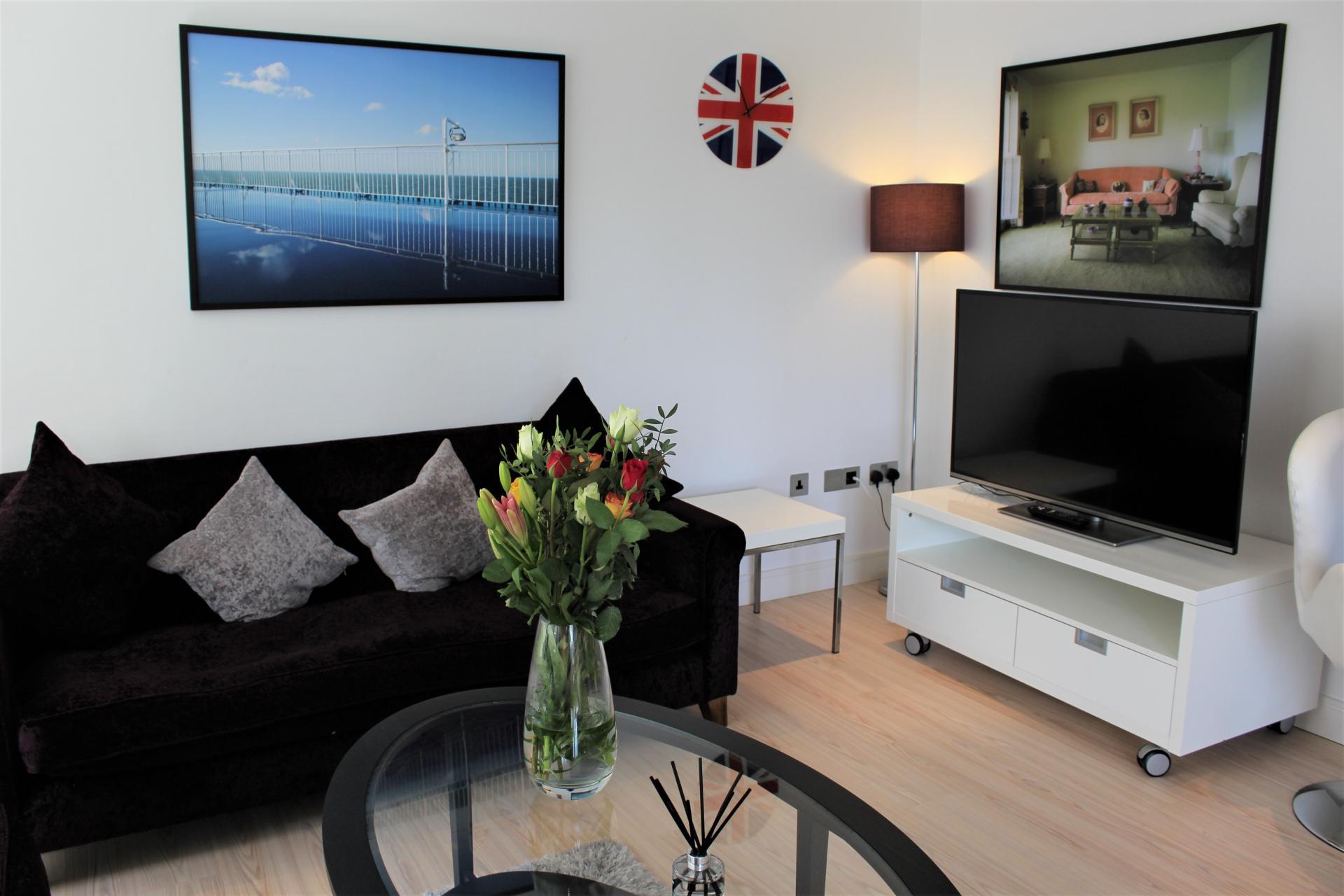 Living area at Gunwharf Quays Apartments, Gunwharf Quays, Portsmouth