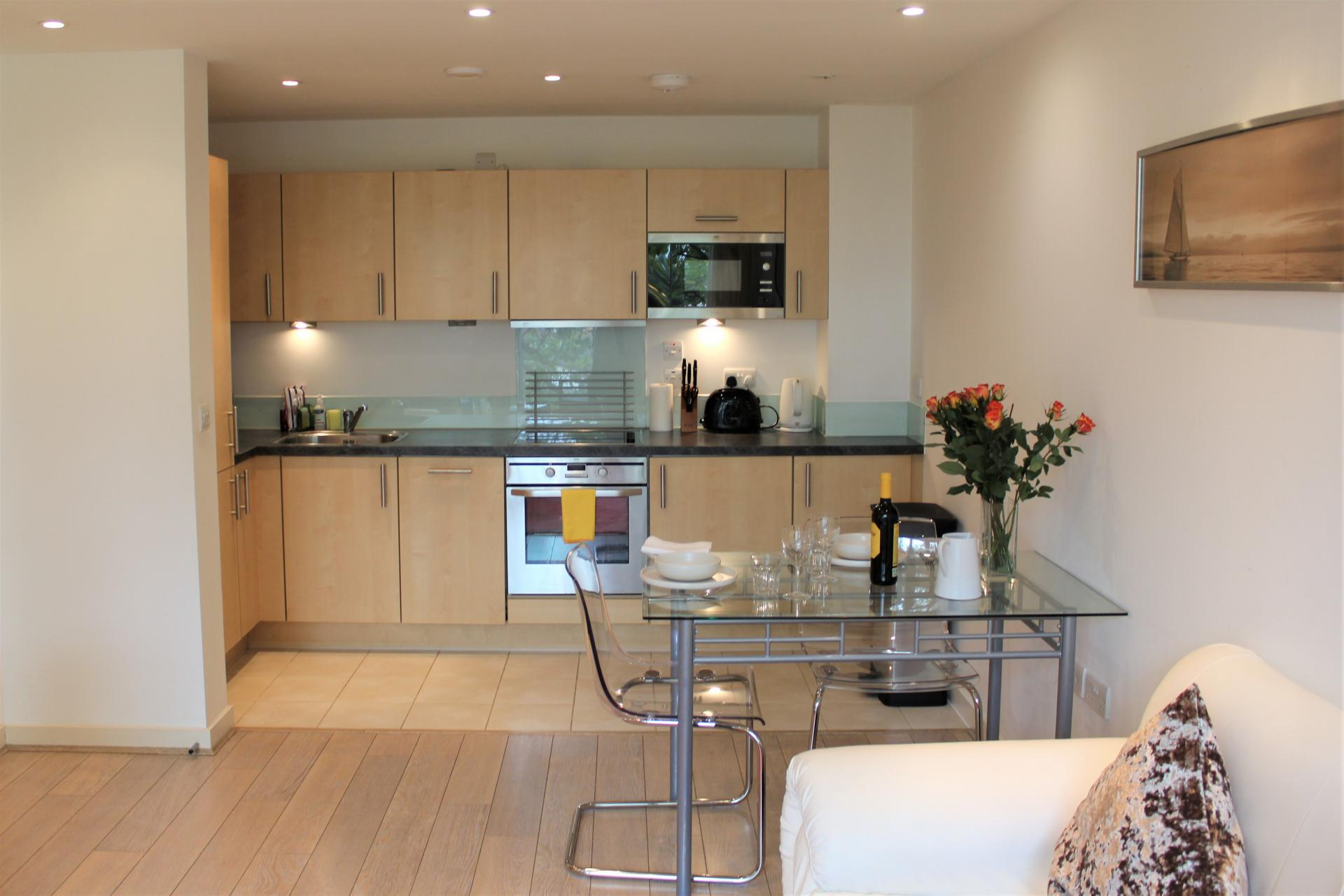 Kitchen and dining area at Gunwharf Quays Apartments, Gunwharf Quays, Portsmouth