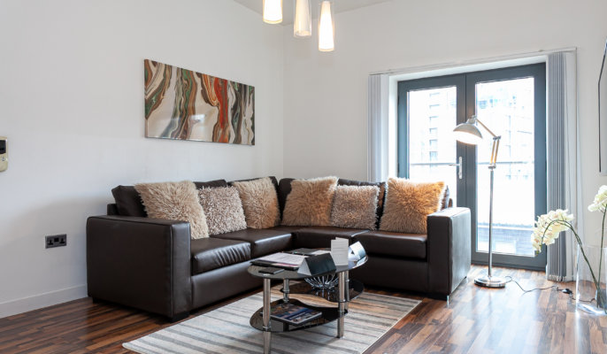Expansive living area at Bloom Apartments, Centre, Manchester