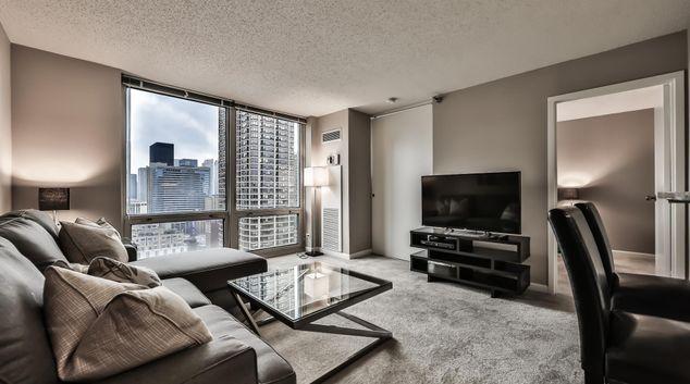 Living area at 750 Rush Apartment