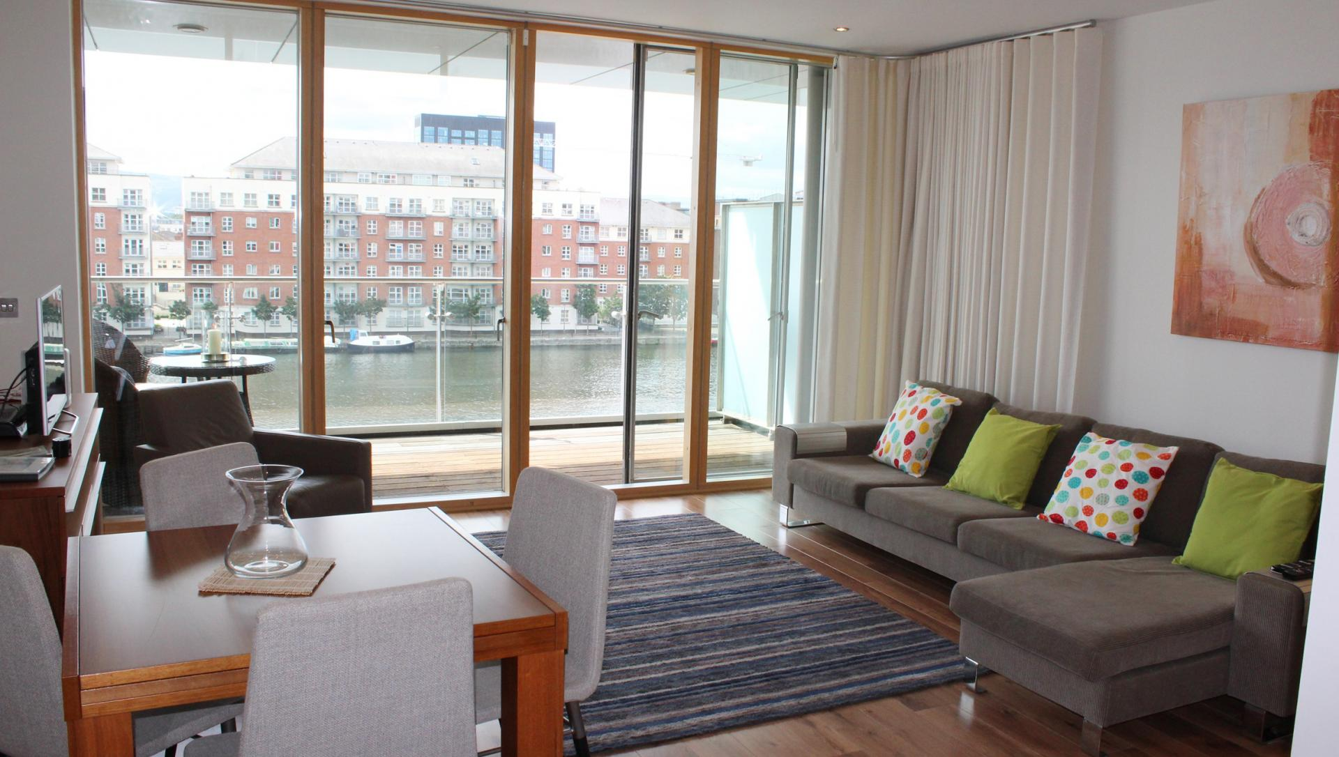 Living room at The Waterfront Apartment