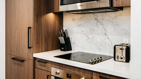 Equipped kitchen at The Paramount Serviced Apartments