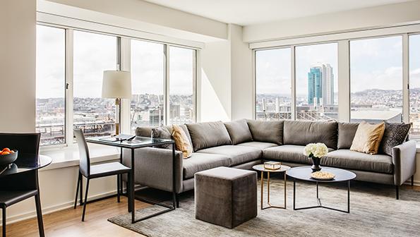 Large sofa at The Paramount Serviced Apartments