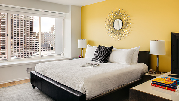 King size bed at The Paramount Serviced Apartments