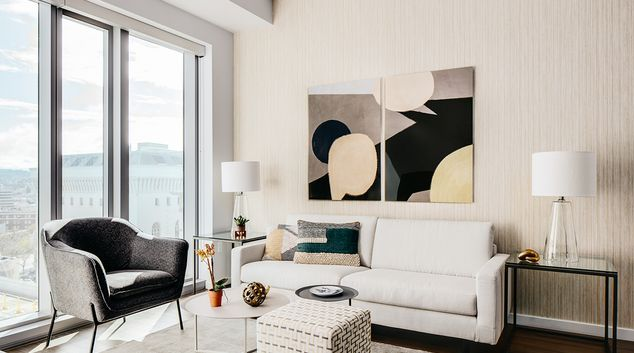 Living room at Van Ness Serviced Apartments