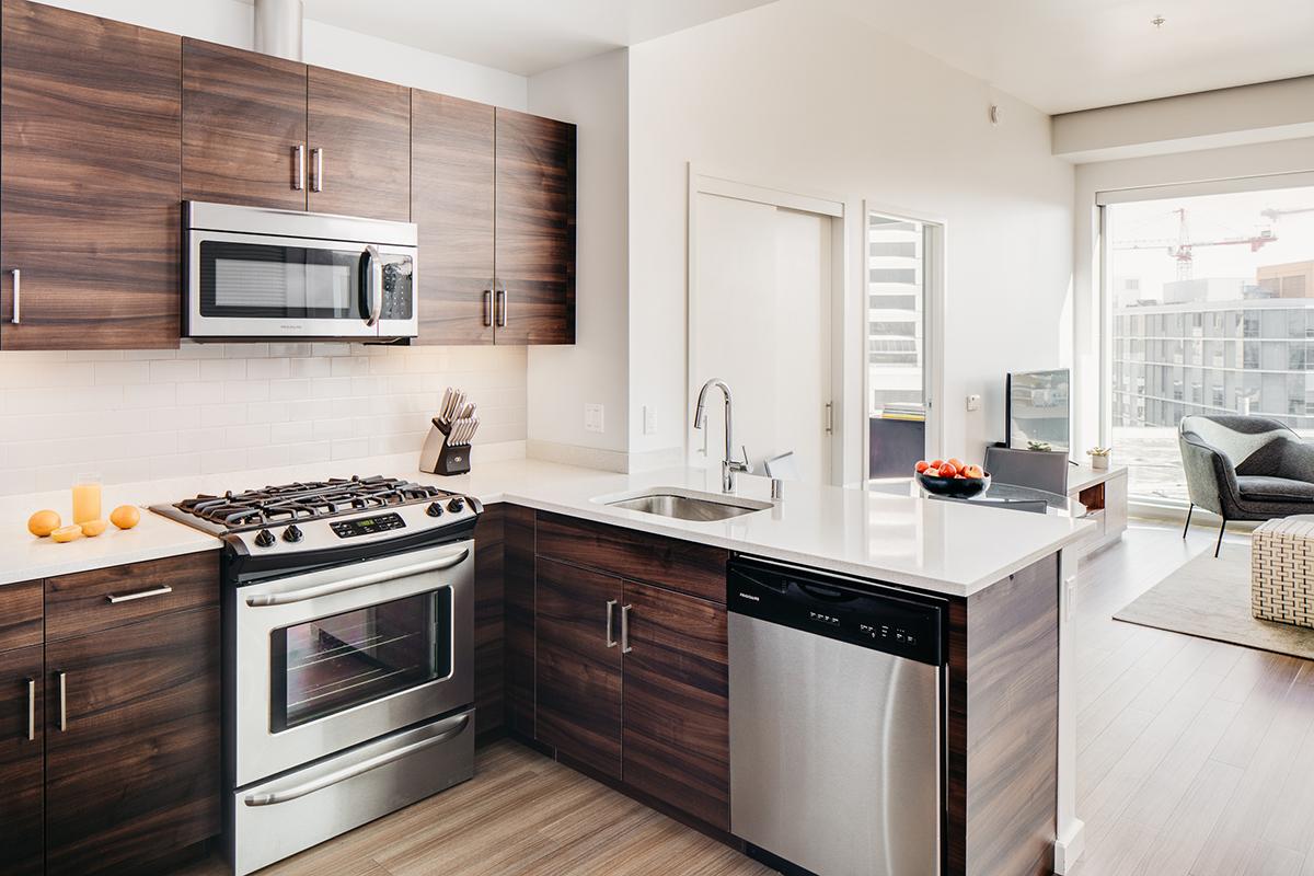 Kitchen at Van Ness Serviced Apartments