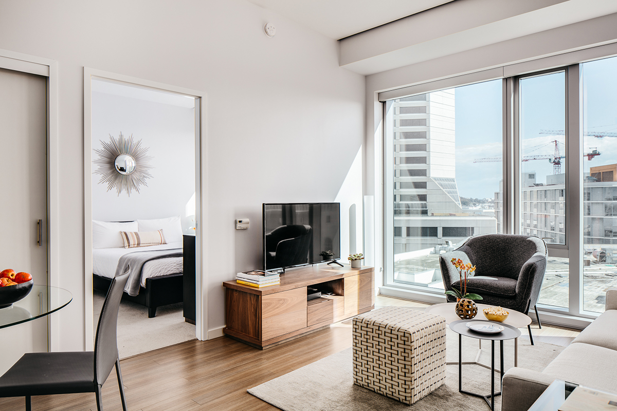 Bright lounge at Van Ness Serviced Apartments