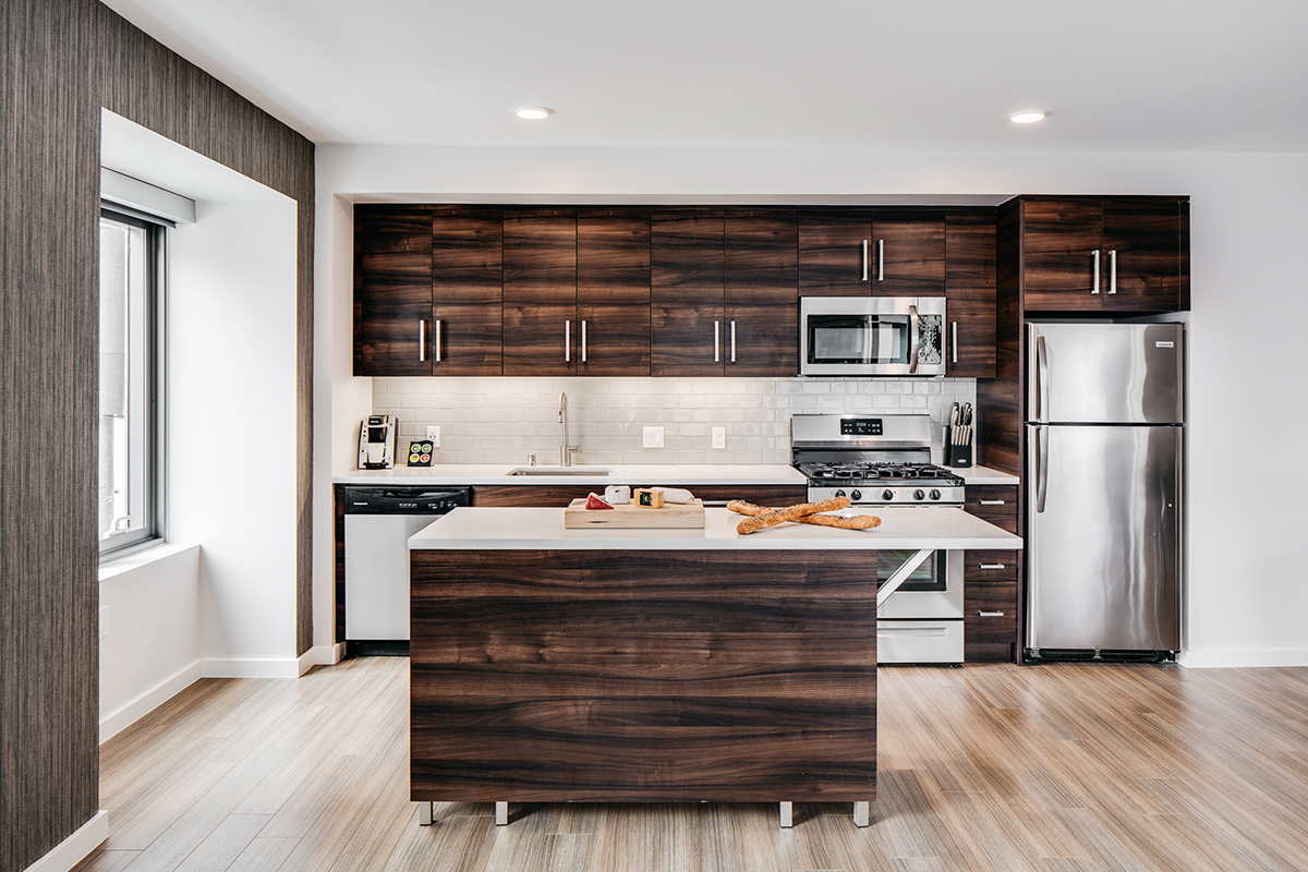 Kitchen at 150 Van Ness Apartments