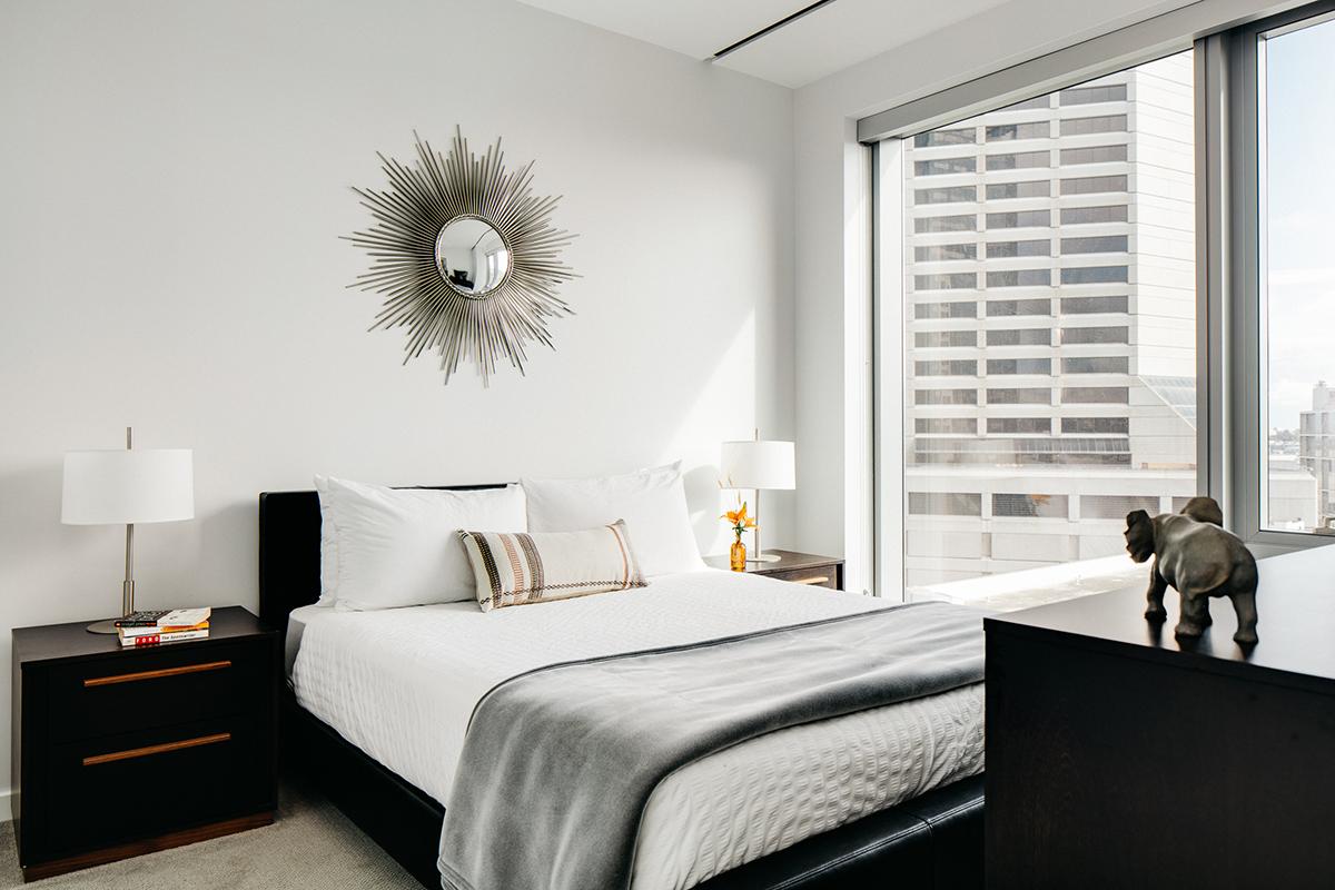 Bedroom at 150 Van Ness Apartments