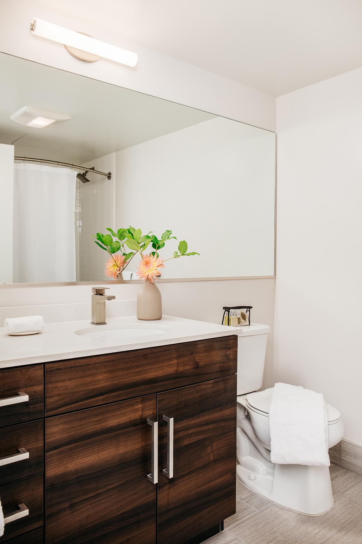Modern bathroom at 150 Van Ness Apartments