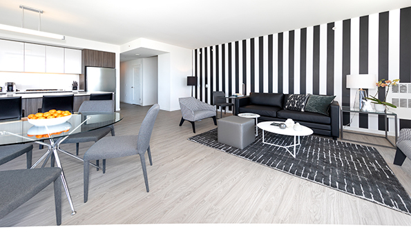 Modern living area at Nema Serviced Apartments