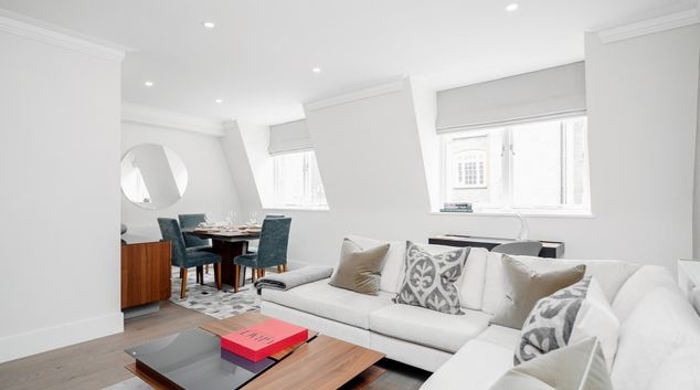 Living area at Mayfair Mews Apartments