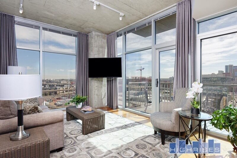 Living area at Glass House Apartments