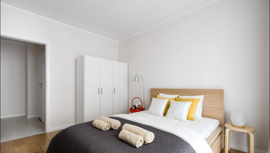 Double bed at Apartments Soho Factory