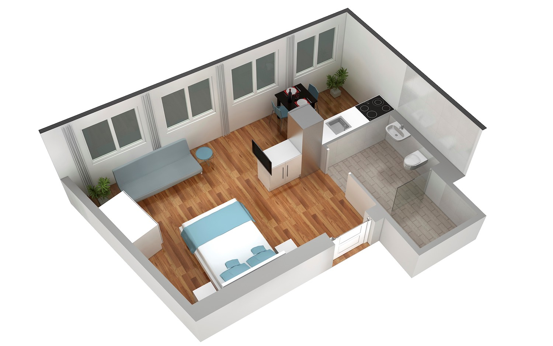 Floor plan at Marktplatz Apartments