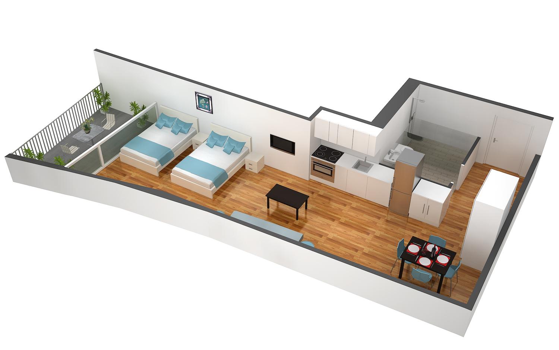 Floor plan 3 at Marktplatz Apartments