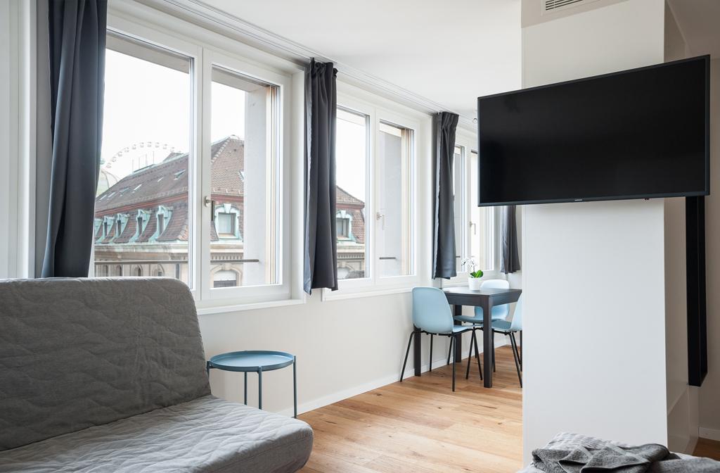 Bright living area at Marktplatz Apartments