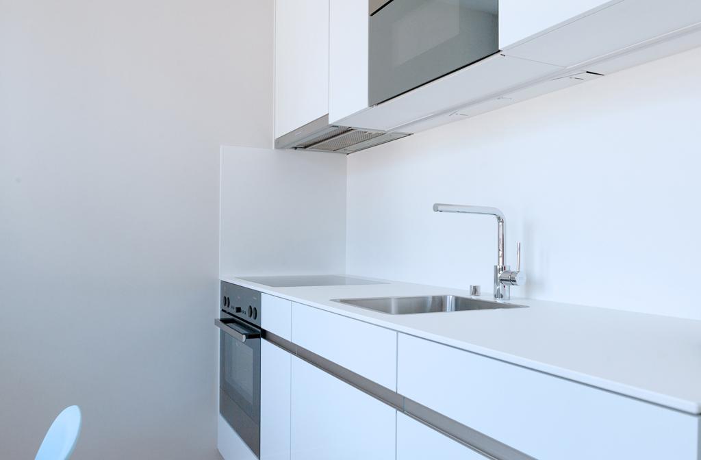 Sleek kitchen at Marktplatz Apartments