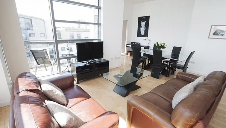 Stylish living area at Ocean Serviced Apartments