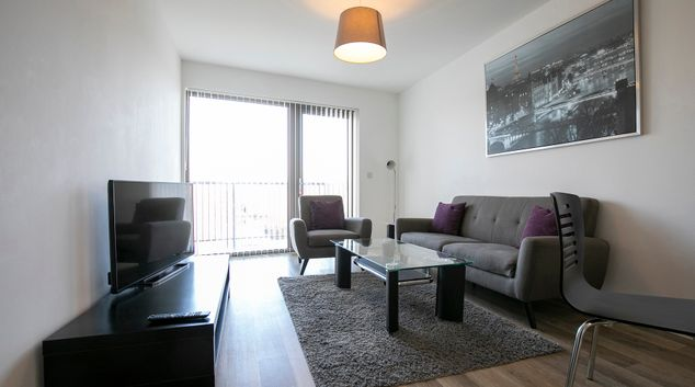 Living room at Wey Corner Apartment, Centre, Guildford