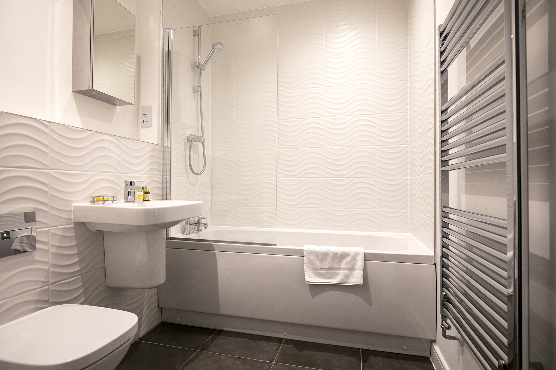 Bathroom at Wey Corner Apartment, Centre, Guildford