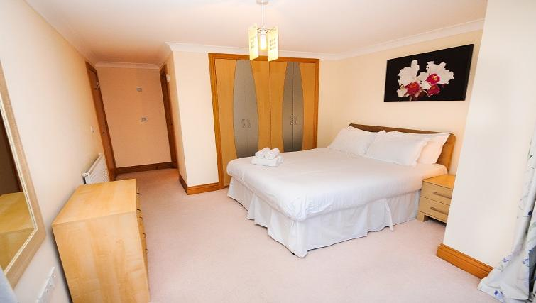 Comfortable bedroom in Charter Apartments