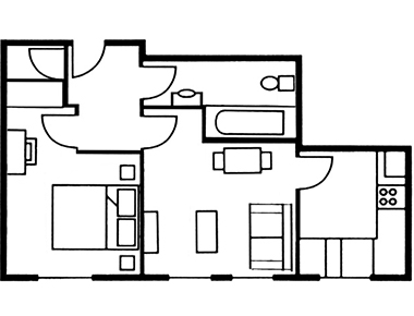 1 bed floor plan at The Knight Residence, Old Town, Edinburgh