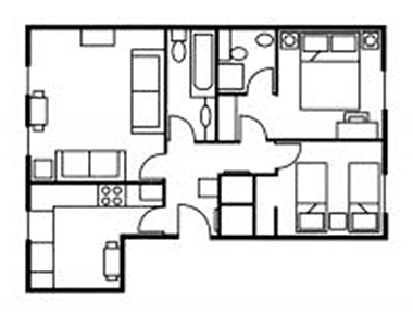 2 bed floor plan at The Knight Residence, Old Town, Edinburgh
