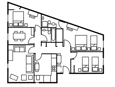 3 bed floor plan at The Knight Residence, Old Town, Edinburgh