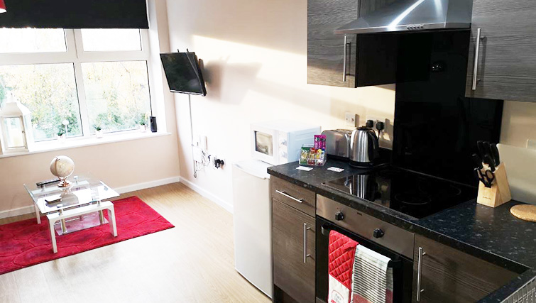 Bright living area at Metropolitan House Serviced Apartments