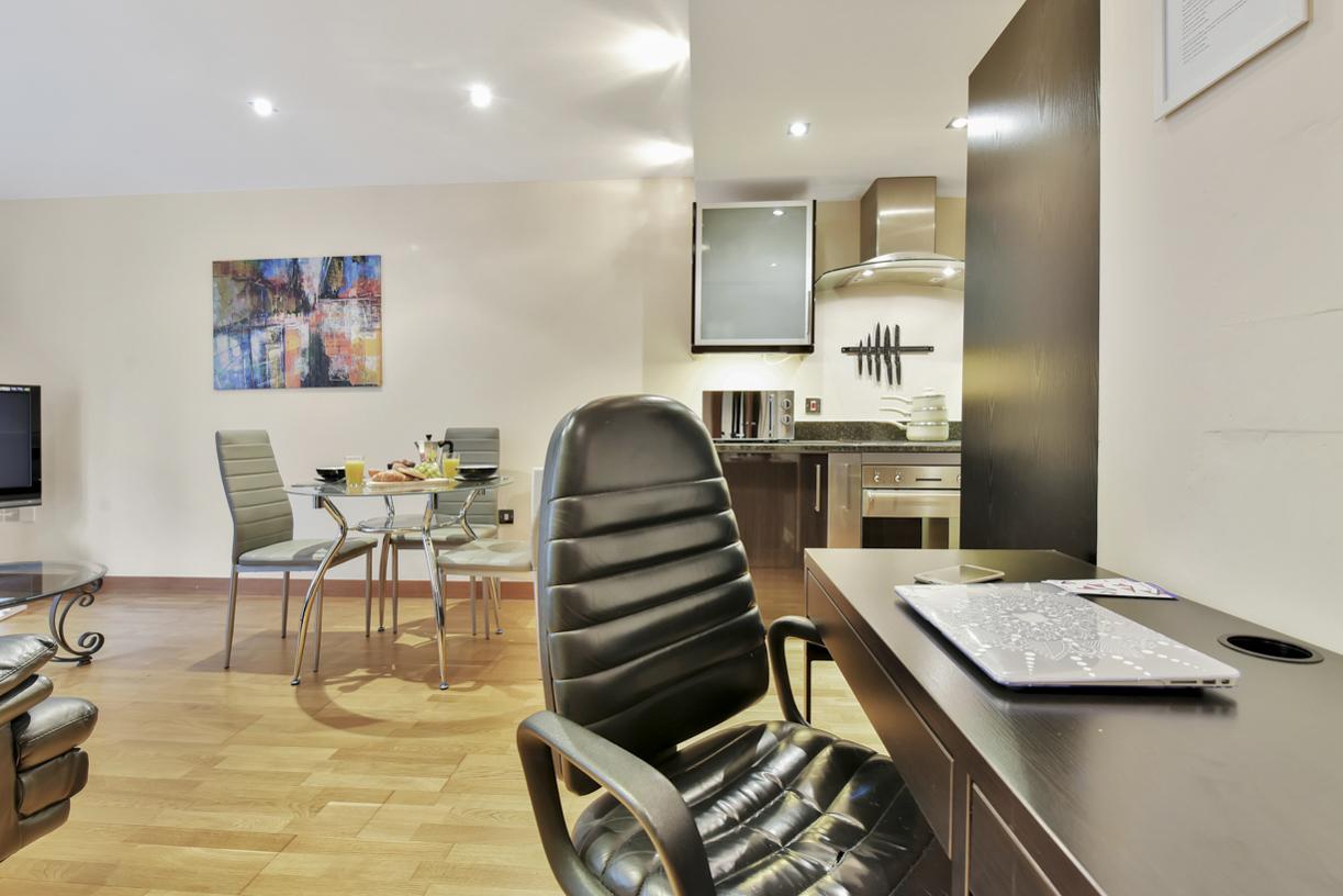 Desk area at Cuba Street Apartment