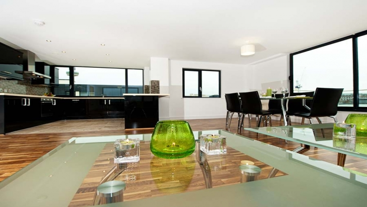 Stunning living area in Lever Court Apartments
