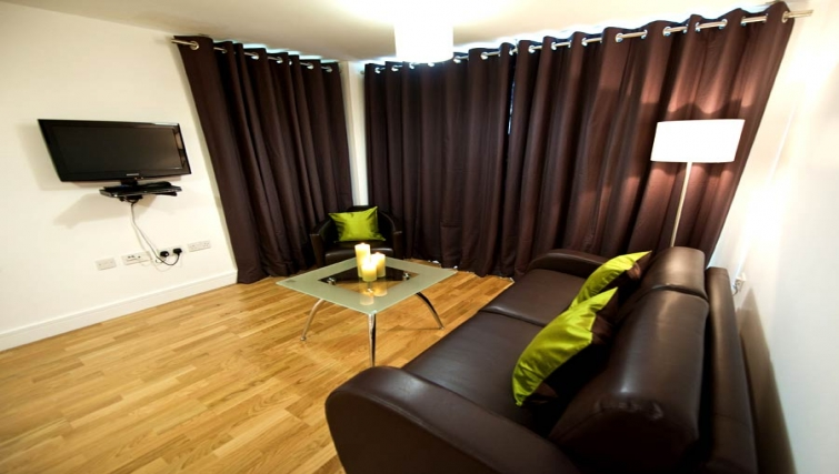 Stylish living area at Lever Court Apartments