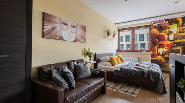 Living area at Fabryczna Serviced Apartments, Solec, Warsaw
