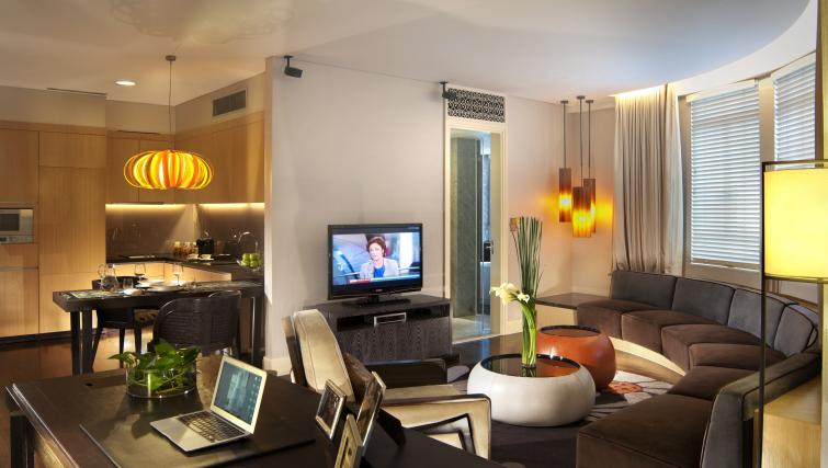 Stylish lounge at Ascott Raffles Place Singapore Apartments, Singapore