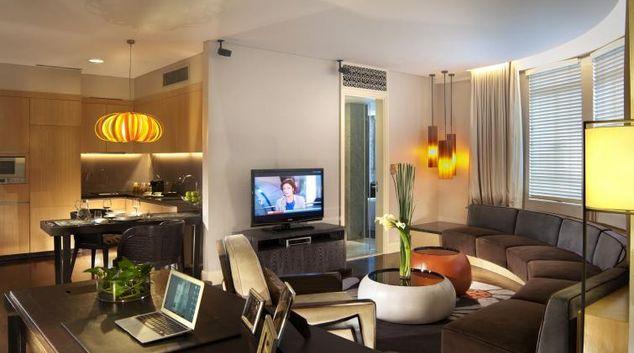 Stylish lounge at Ascott Raffles Place Singapore Apartments, Singapore
