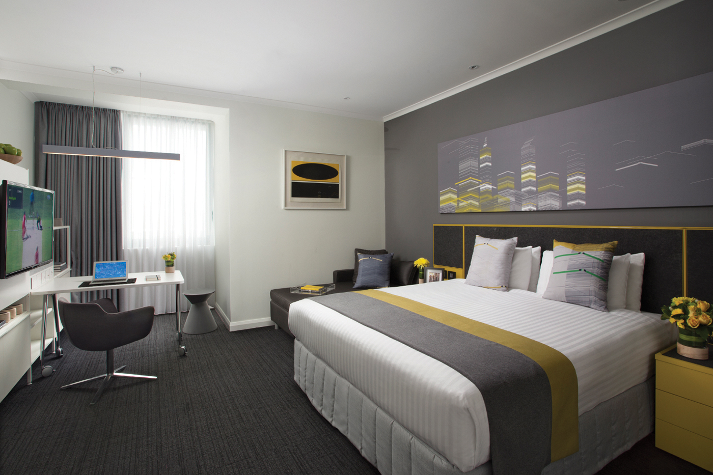 Bed at Citadines St George Terrace Apartments