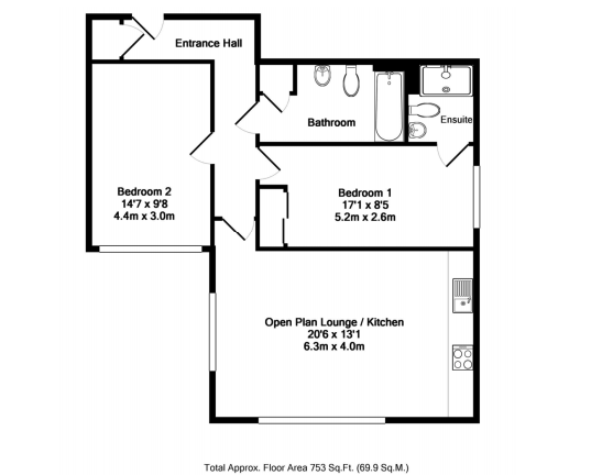 Floor plan at Wessex Court Serviced Apartment