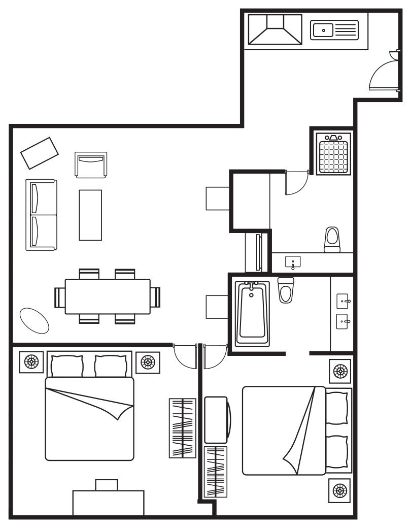 Floorplan 2 at Somerset Elizabeth Apartments