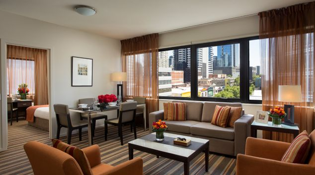 Living Area at Somerset Elizabeth Apartments, Centre, Melbourne