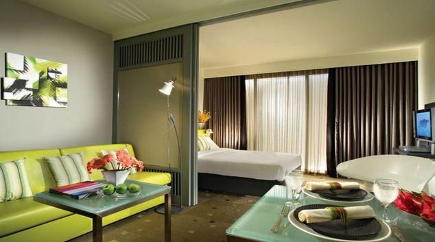 Modern living area in Citadines Xinghai Suzhou Apartments