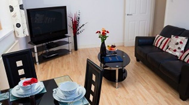 Living room at Beaufort Court Apartments