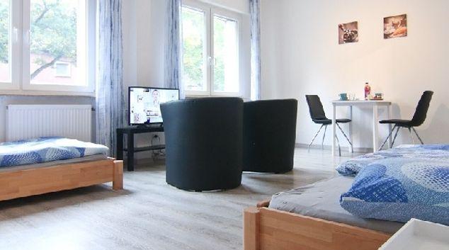Living area at Oberhausen Apartments