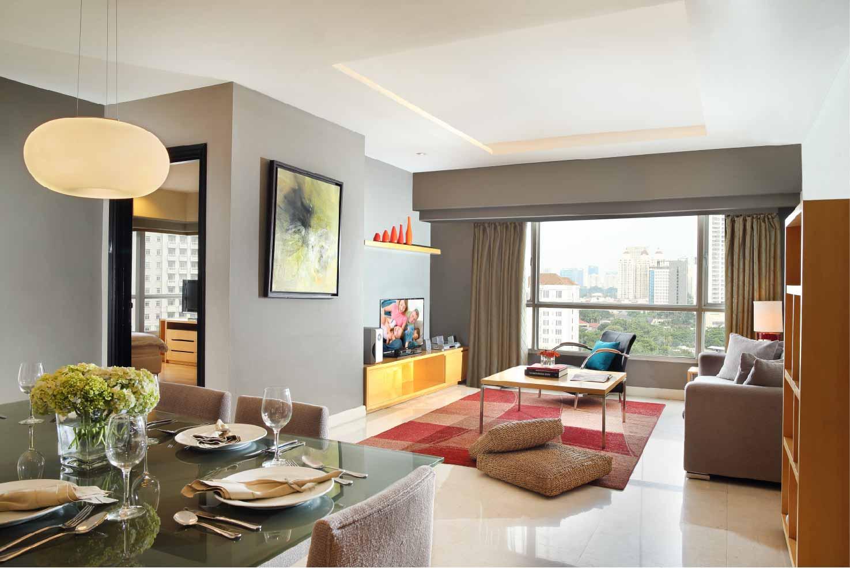 Living room at Somerset Berlian Apartments